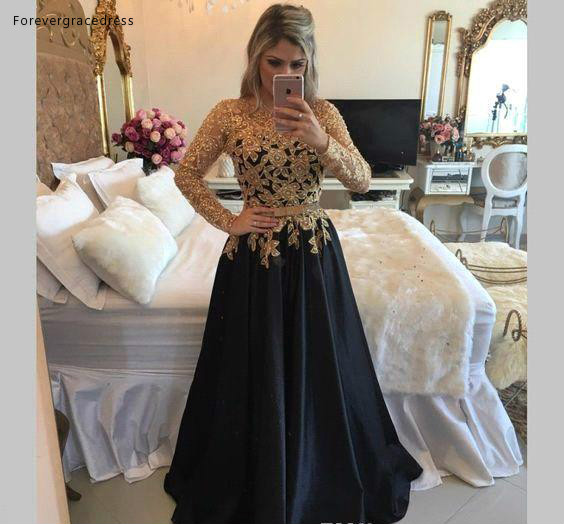 Black Gold Lace Long Sleeves Vintage Mother Dresses 2018 A-line Appliques Pearls Zipper Back Floor Length Evening Gowns Prom Dress BA7616  129