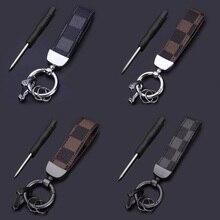 Lanyard Keychain Key-Accessory Car-Key-Rings Leder Square-Pattern Women Luxury for Fashion