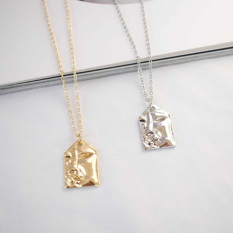 פשוט אופנה זהב שרשרת סדיר גיאומטרי מטבע פנים שרשרת קולר בציר כיכר מטבעות שרשרת היפ הופ תכשיטי collares
