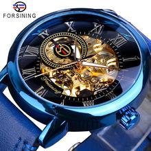 Forsining New Arrival Blue Men Mechanical Watch Slim Dial Hand Winding Genuine Leather Sports Wristwatch Clock Relogio Masculino