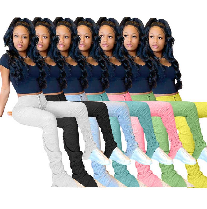 スウェットパンツ女性フレアパンツ積み重ねジョギングプリーツハイウエストパンツベルボトムパンツ女性 7 色 S-XXL