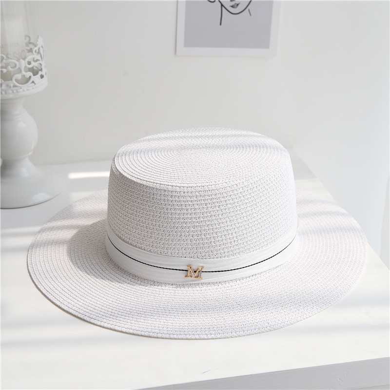 2020 Letter M Women Beach Straw Hat Outdoor British Style Cap Embroidered Flat Top Summer Female Wide Brim Sunhat03