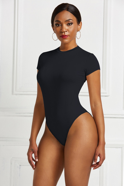 Sexy One Piece Bodycon Bodysuit Short Sleeve O Neck Open Basic White Black Red Overalls Women Body Top Skinny Rompers Female 5