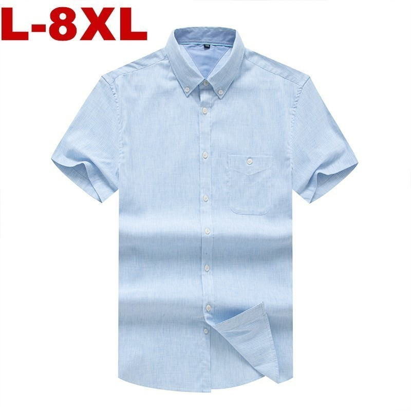 8XL 7XL 6XL Plus Size High Quality Casual Oxford Shirt Men Summer Striped Slim Fit Leisure Short Sleeve Shirts Men Chemise Homme