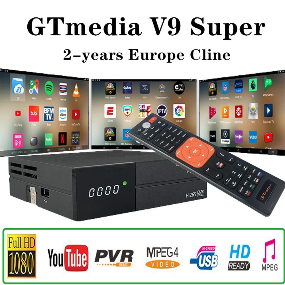 2 Years Europe Channels GT Media V9 Super Satellite Receiver DVB-S2 Full HD Satellite Receptor GTMedia Decoder Super TV Box