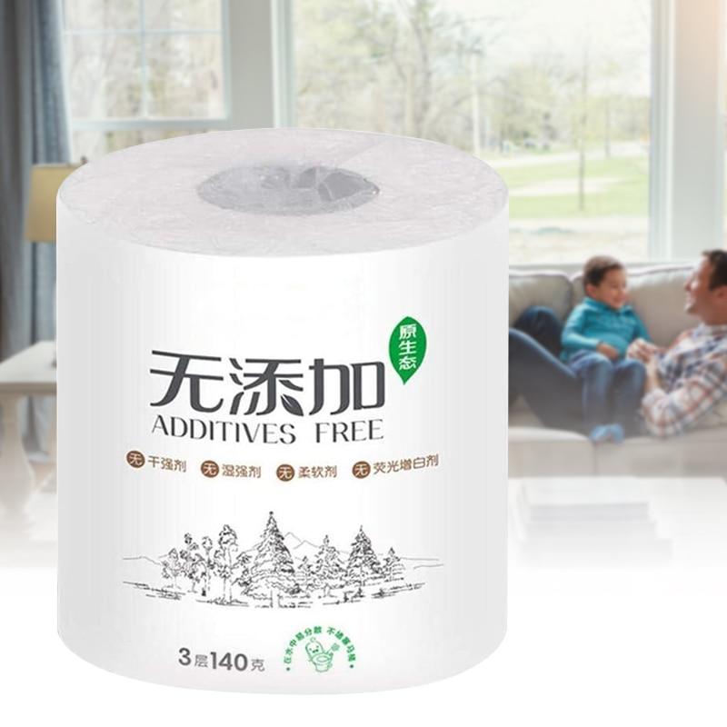 3-ply Toilet Paper Home Roll Paper Soft Skin-Friendly Bathroom Paper Tissue White IK88