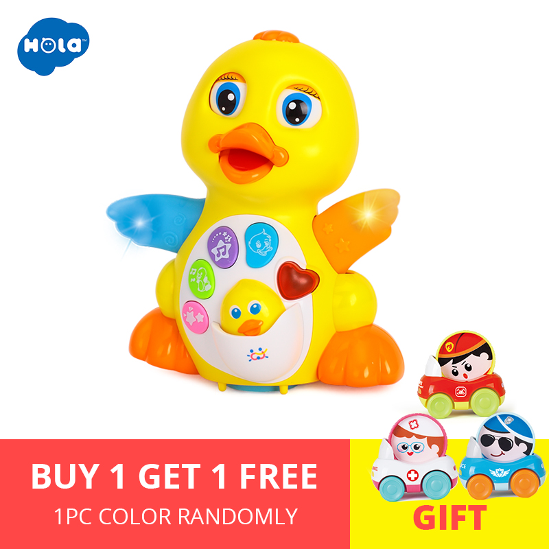 HOLA 808 Dancing Duck Battery Operated Toy Figure Action Toy with Flashing Lights Electric Universal Musical Baby Toys