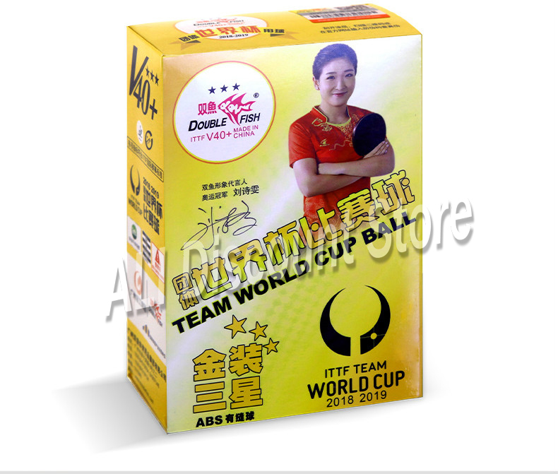 2019 Double Fish Ittf Team World Cup Table Tennis Balls 3 Star D40+ Abs Table Tennis New Material Plastic Poly Ping Pong Balls