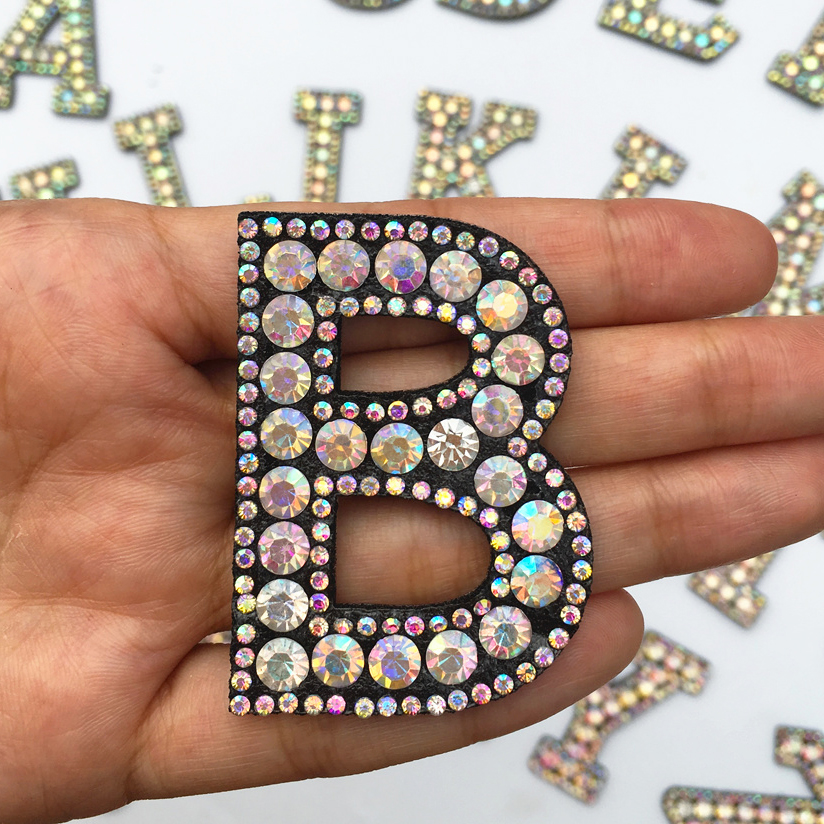 H71d40a92522447a7a0e724b9855c6d77g A-Z 1pcs Rhinestone English Alphabet Letter Applique 3D Iron On letters Patch For Clothing Badge Paste For Clothes Bag Shoes