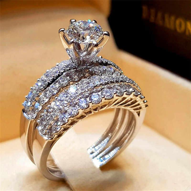 Милый женский кристалл белый циркон кольцо набор роскошных серебряных цветов обручальное кольцо винтажные Свадебные Кольца для женщин