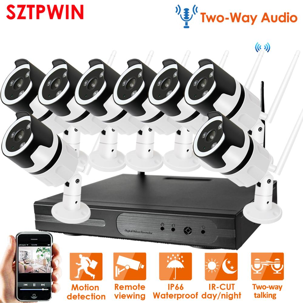 Two-way audio1080p sistema de cctv sem fio nvr wifi 2.0mp bala ao ar livre indoor câmera ip segurança à prova dwaterproof água vídeo surveillancekit