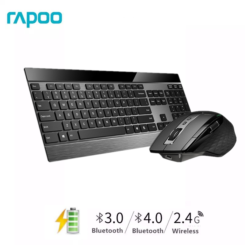 Rapoo Multi-mode Wireless Slim Metal Keyboard & Rechargeable Laser Mouse Combo Bluetooth 3.0/4.0 & 2.4G Switch Between 4 Devices