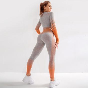 Kobiety Vital Seamless Yoga Set odzież sportowa Fitness legginsy + przycięte koszule Sport garnitur kobiety z długim rękawem dres odzież sportowa tanie i dobre opinie Mermaid Curve NYLON WOMEN Pełna Joga Pasuje prawda na wymiar weź swój normalny rozmiar Paski Oddychająca Sprężone
