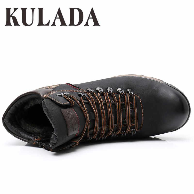 Kulada Giày Nam Mùa Đông Giày Giày Bốt Thời Trang Mùa Đông Tuyết Ấm Giày Thắt Dây Thoáng Khí Giày Dép Nam Giày