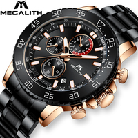 MEGALITH Business Watch Men Luxury Brand Stainless Steel Quartz Wrist Watch Chronograph Army Military Watches Relogio Masculino
