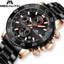 MEGALITH İş İzle erkekler lüks marka paslanmaz çelik kuvars kol saati Chronograph ordu askeri saatler Relogio Masculino