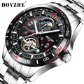 Мужские автоматические механические часы BOYZHE  роскошные спортивные часы топового бренда из нержавеющей стали с турбийоном  мужские часы