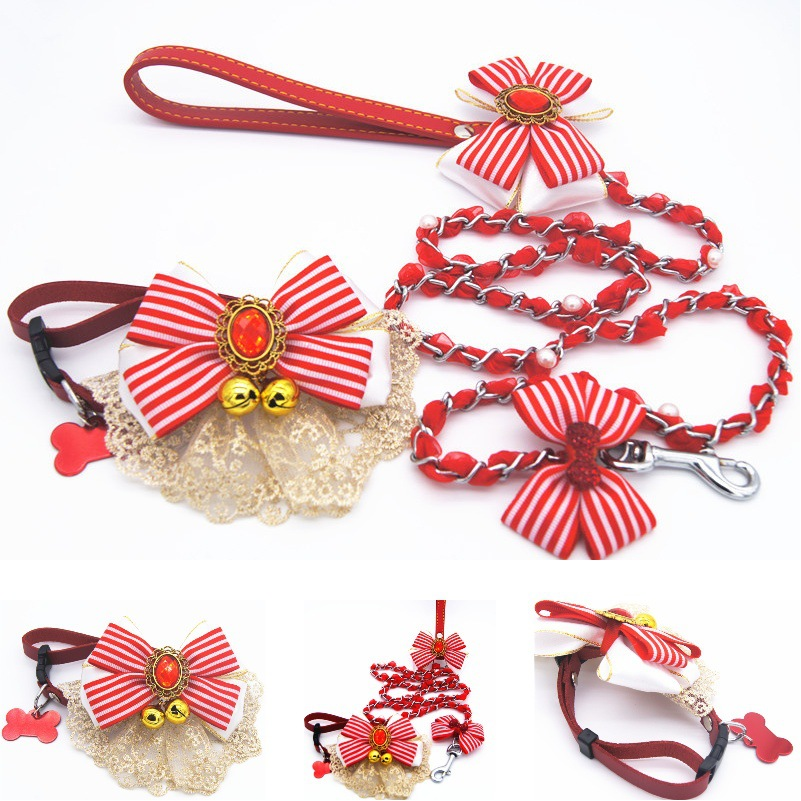 Red Lace Small Bell Anti-Bite Pendant Dog Traction Pet Collar Drawstring Set