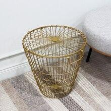Golden Laundry Basket Metal Dirty Clothes Storage Basket Home Organizer Basket Creative Storage Iron Basket Bathroom Basket