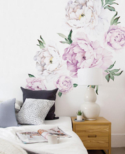 Peony Flowers Wall Sticker Vintage Lilac Watercolor Stickers Peel and Stick Removable room decoration decor