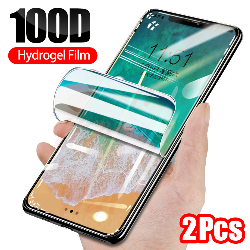 H&A 2Pcs 100D Hydrogel <font><b>Film</b></font> For <font><b>iPhone</b></font> X XS XR XS Max 11 Pro Max Screen Protector For <font><b>iPhone</b></font> 7 8 <font><b>6</b></font> 6s Plus Soft Protective <font><b>Film</b></font> image