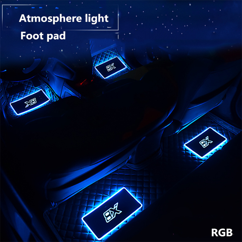 4 in 1 Car Interior Floor Mats Atmosphere lamp Automotive LED Decorative Sound control Colorful flashing Light With Remote