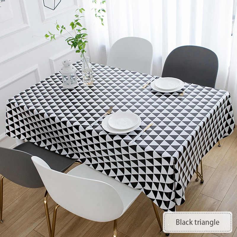 Mantel PVC A prueba de aceite Comedor Cocina Mantel Mesa auxiliar Cubierta de tela Protector Impresi/ón a cuadros en blanco y negro