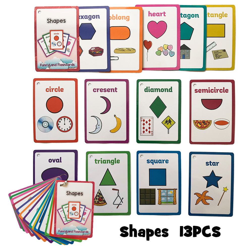 Baby Shapes Learning English Word Card Montessori Flashcards Early Education Children Pocket Cards Kids Matching Games Gifts