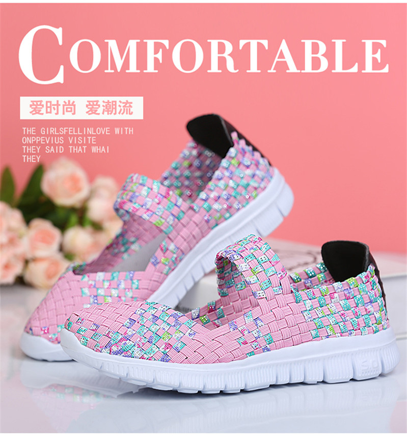 Women's Sports Shoes Woman Handmade Weave Sneakers for Women Light Slip-on Breathable Running Shoes Sport Big Size Woven Shoe V5