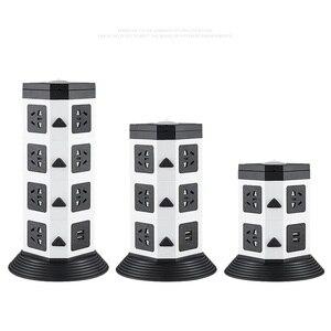 Image 2 - Башня Мощность полосы (цифровое управление) Вертикальная Розетка 7/11/15 розетка с двумя USB розеток Удлинительный шнур светодиодный освещения