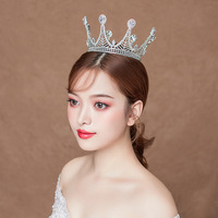 Noble Beauty Round Crown Princess Tiara Cubic Zircon Wedding Bridal Crown Rhinestone Pageant Crown For Brides Headbands