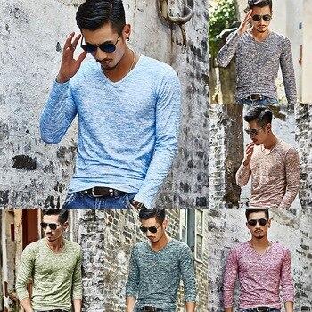 Slim podstawowe koszulki męskie Plus Size męskie koszulki Casual długi rękaw Tee krótki rękaw Top odzież Stretch koszulka