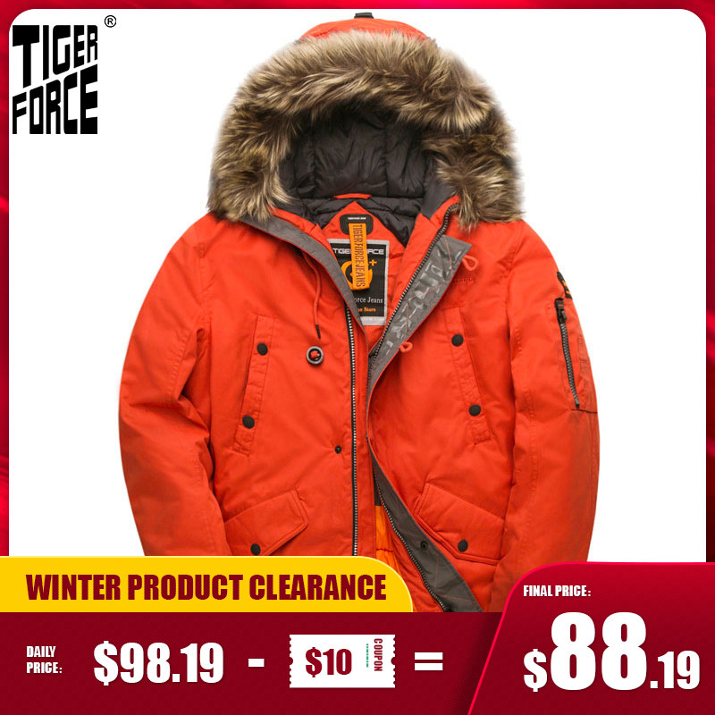 TIGER FORCE Parka Men's Winter Jacket Water Resistant Hooded Jacket Quilted Ski Snowjacket Extremely Cold Russia Man Coat|Parkas| - AliExpress