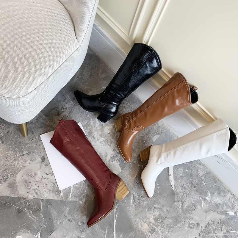 EGONERY kadın ayakkabı 2019 kış yeni moda sivri burun slip-on diz yüksek çizmeler açık yüksek topuklu artı boyutu ayakkabı damla nakliye