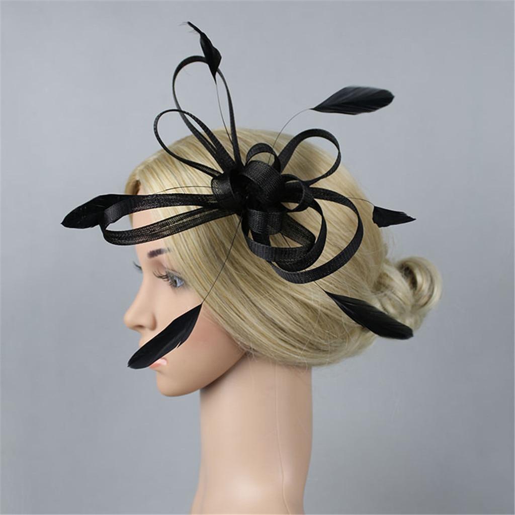 Light Pink Flower with Fish Net /& Feather Fascinator on slim satin Headband