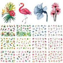 12 tasarımlar su çıkartmaları kaymak yaz orman Flamingo papağan Flora filigran tırnak Sticker dekorasyon sarar manikür BEBN865 876