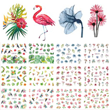 12 wzorów woda naklejki suwak lato dżungla Flamingo papuga Flora znak wodny naklejka do paznokci dekoracje okłady Manicure BEBN865 876