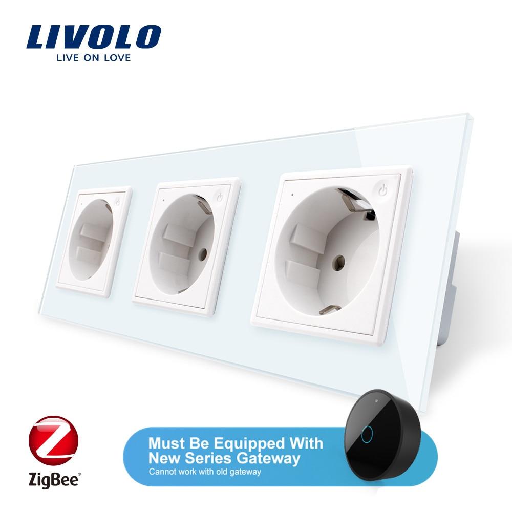 Livolo ue Standard nouvelle prise de courant intelligente tripe Wifi, verre cristal, prise de courant murale 16A, application wifi, aleax, google home, sans lo