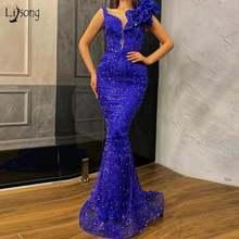 Женское длинное платье с блестками темно синее блестящее для