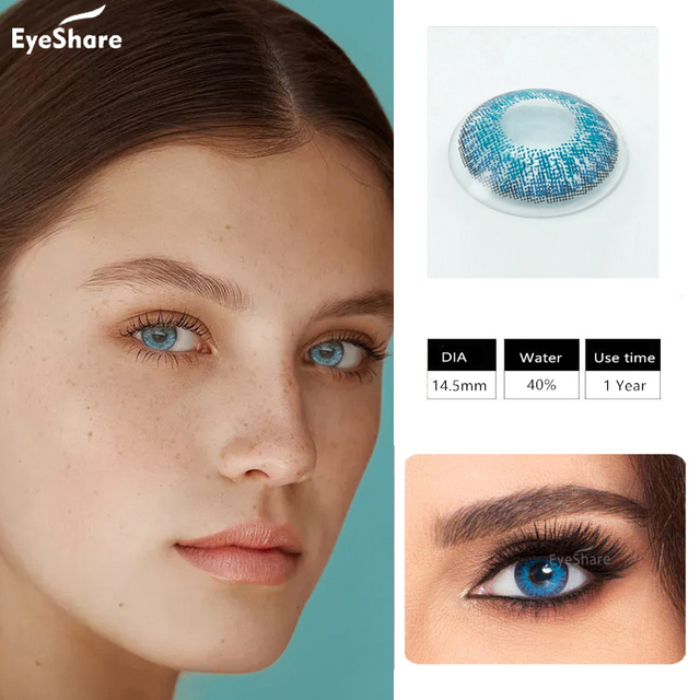EYESHARE- 1 Pair 3 Tone Brilliant Colored Contact Lenses for Eyes Cosmetic Coloured  Eye Lenses Contacts 1
