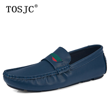 TOSJC Summer Men Casual Loafers Split Leather Flats Moccasins for Man Breathable Slip On Driving Shoes High Quality Penny Shoes tosjc 2