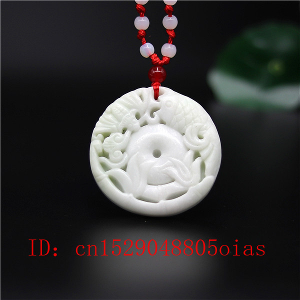 Natural White Chines Jade Bat Pendant Fish Necklace Charm Jewellery Fashion Accessories Carved Amulet Gifts For Women Men