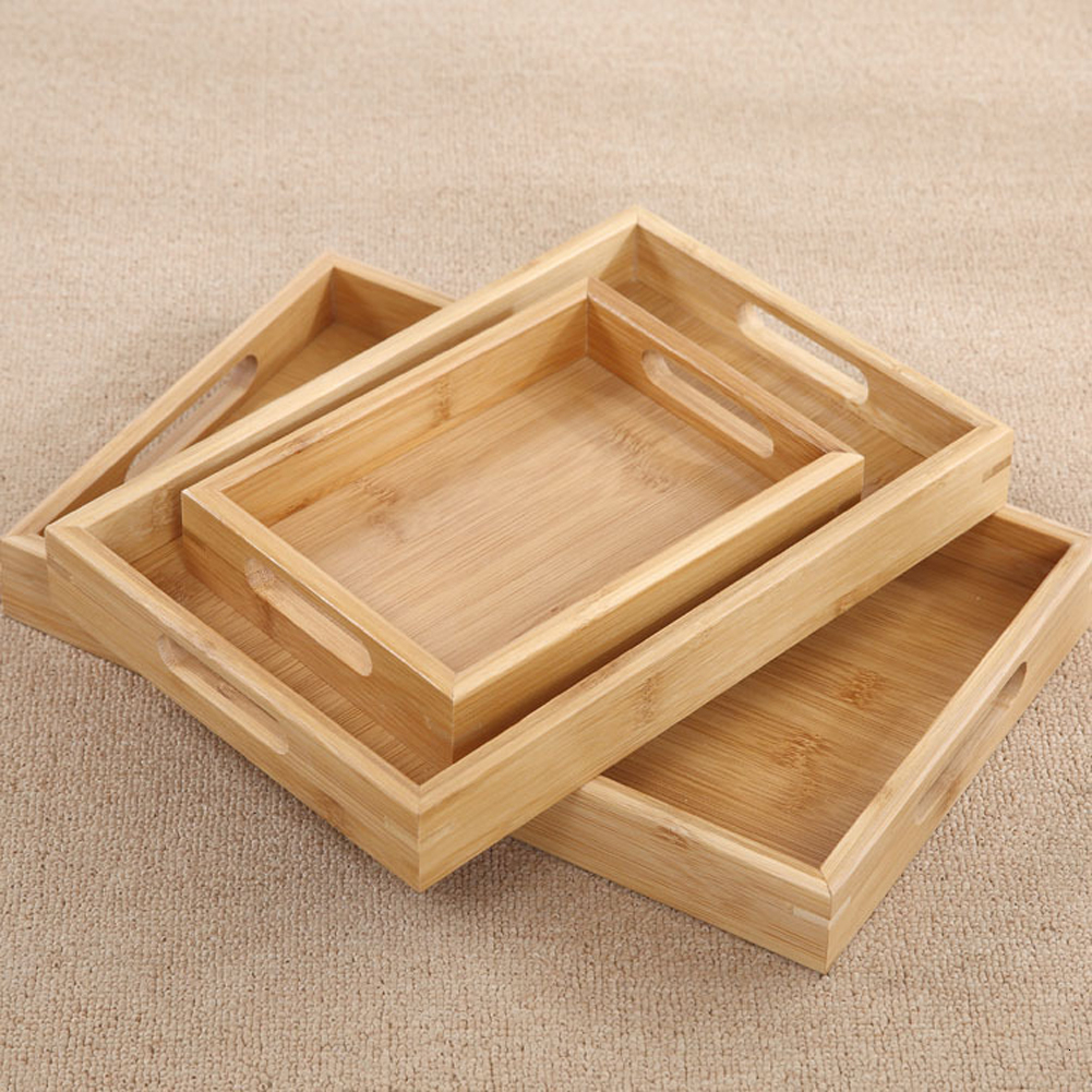 Wooden Bamboo Gongfu Tea Tray Storage Saucer Fruit Plate Large Serving Decoration Vintage Food Drying Dishes Rectangle Pallet