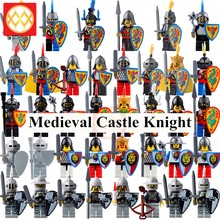 Medieval Castle Crown Knight Shield Heavy Knight With weapons Model Action Collection Assemble Building Blocks Bricks Best Toys For Children Gift(China)