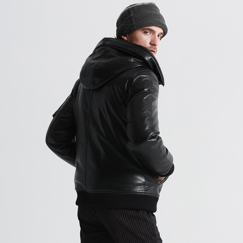 Men's Genuine Leather Jacket Winter Coat Men Goose Down Jacket Mens Sheepskin Coat Chaqueta Cuero Hombre 17-H25# KJ1081