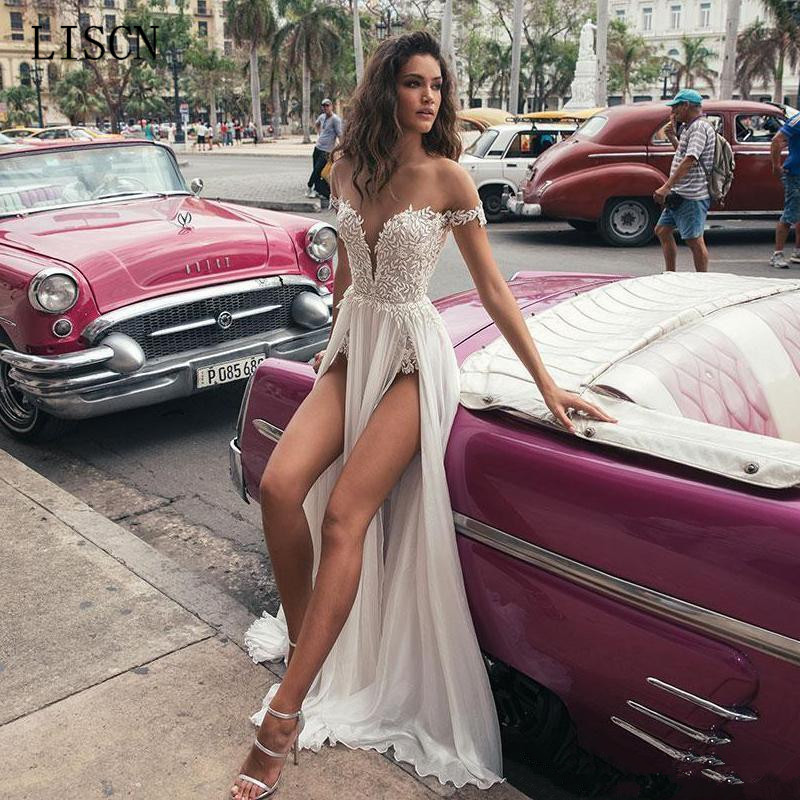 New Backless Short Sleeve Wedding Dress Robe De Mariee Sheath Beach Side Split Empire Lace Chiffon Sexy Bridal Boho Gowns Summer