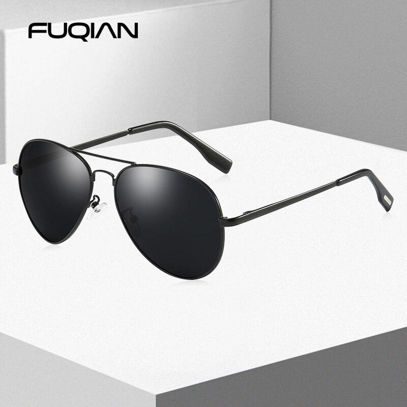 FUQIAN Classic Pilot Polarized Sunglasses Men Fashion Metal Sun Glasses Women Black Driving Eyeglasses Goggle UV400