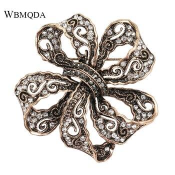Wbmqda, broche de lazo de moda, broches de lazo de diamante de imitación para mujeres, Pin Retro, patrón hueco, joyería de regalo de lujo