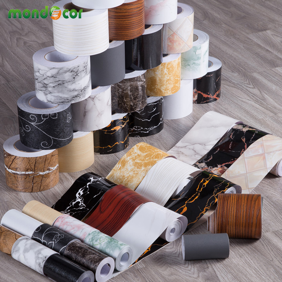 Bathroom Waterproof Skirting Simple Waist Line Stickers Living Room Decor Decals Self Adhesive Wood Marble Wallpaper Border Roll