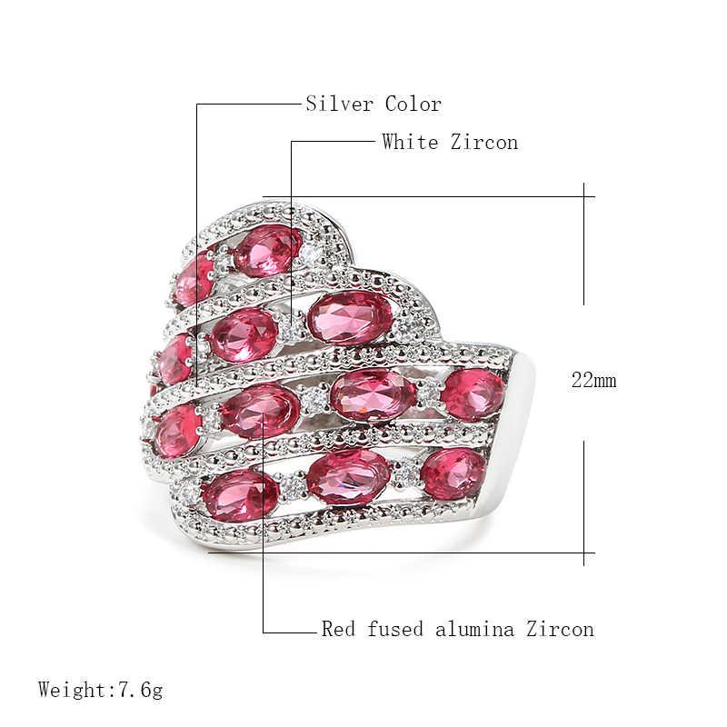 Kinel ประณีตเพทายสีชมพูเจ้าสาวงานแต่งงานแหวนแฟชั่นผู้หญิงเครื่องประดับ Silver สีหมั้นแหวน
